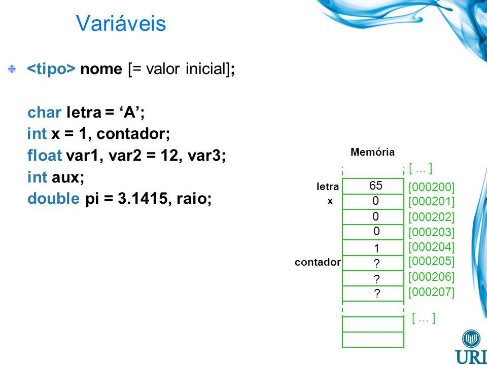 Variáveis <tipo> nome [= valor inicial]; char letra = 'A';